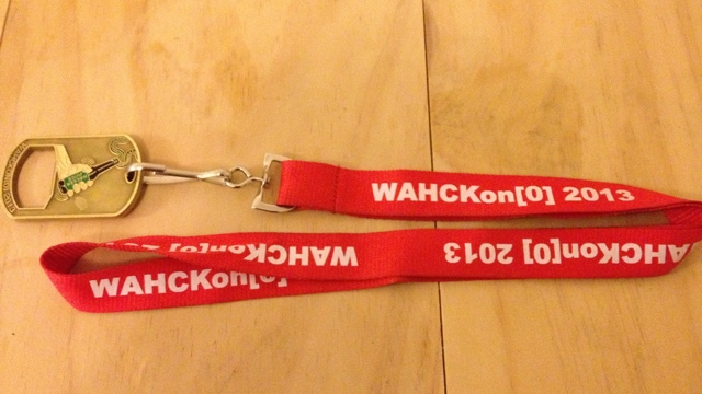 The WHACKon lanyard and badge
